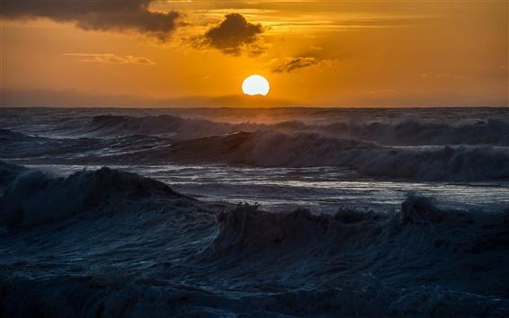 배경 화면 바다, 파도, 일몰, 자연 풍경