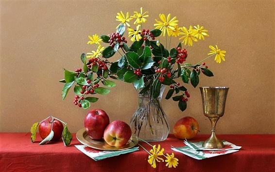 Wallpaper Still life, flowers, vase, cup, apple