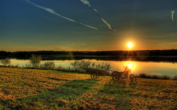 Wallpaper Sunrise, river, Germany, Hesse, grass, trees