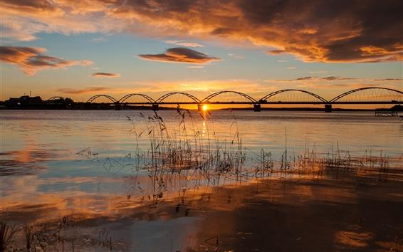 Wallpaper Sweden, Apulia, bridge, river, morning, sunrise, autumn