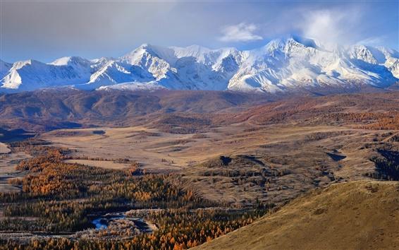 Wallpaper The Altai mountains, autumn, trees, snow