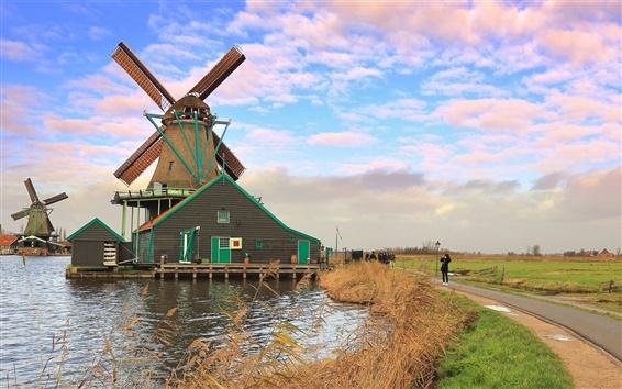 Fond d'écran Les Pays-Bas, moulin à vent, rivière, ciel, nuages