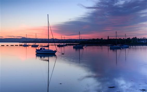Wallpaper UK, England, Hampshire County, bay, boats, evening, sunset