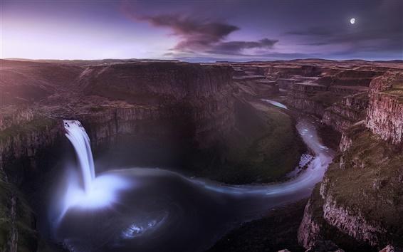 Fond d'écran États-Unis, Washington, vallée, canyon, cascade, nuit, lune
