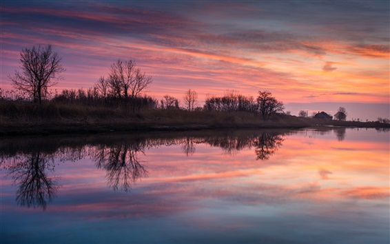 Wallpaper Village, dusk, sunset, sky, clouds, river, water surface, reflection