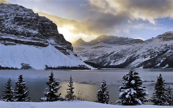 Papéis de Parede Inverno, montanhas, neve, Lago Bow, árvores, Alberta, Canadá