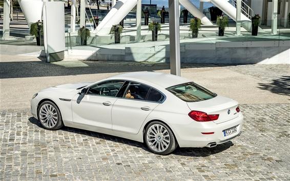 Fond d'écran 2015 BMW 650i coupé, voiture blanche
