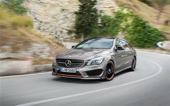 Papéis de Parede 2015 Mercedes-Benz CLA carro prata, de alta velocidade