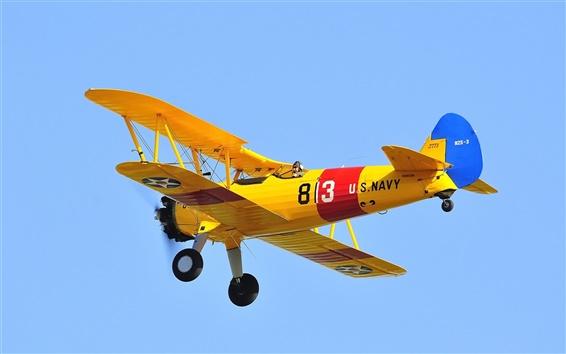 Обои Самолет, самолет-биплан, пилот, ретро, небо