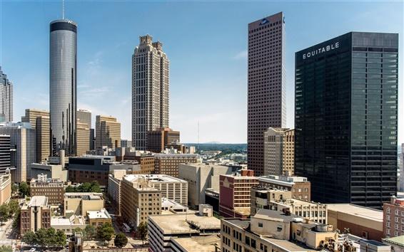 Papéis de Parede Atlanta, Georgia, EUA, arranha céus, construção, casa, cidade