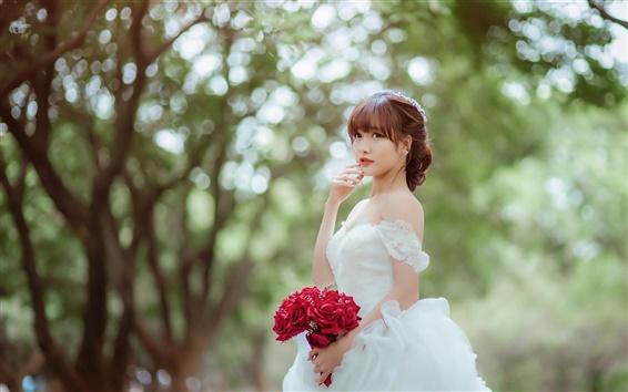 Wallpaper Beautiful asian girl, bride, rose
