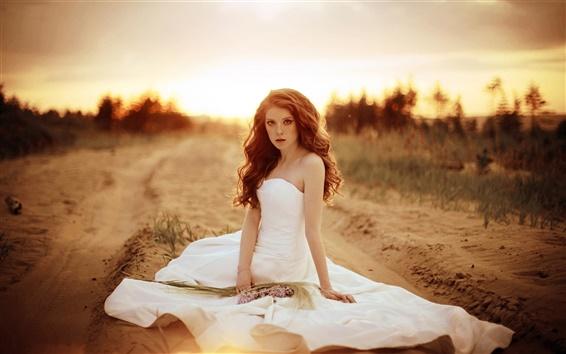 Wallpaper Beautiful bride, girl, white dress, sand, road