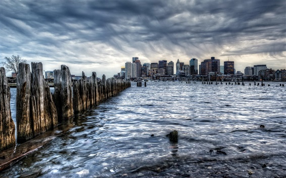 Wallpaper Boston, city, USA, rain, sea, fence, buildings, dawn