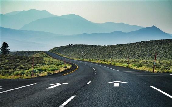 Fondos de pantalla California Camino, EE.UU., curvas, montañas