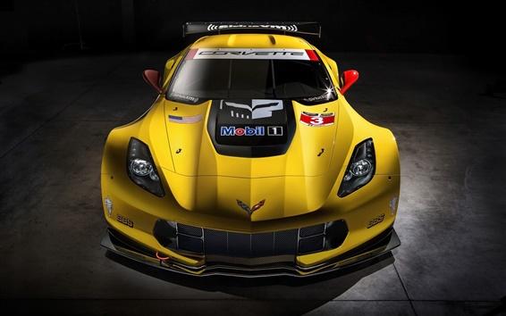 Wallpaper Chevrolet Corvette C7-R race car front view