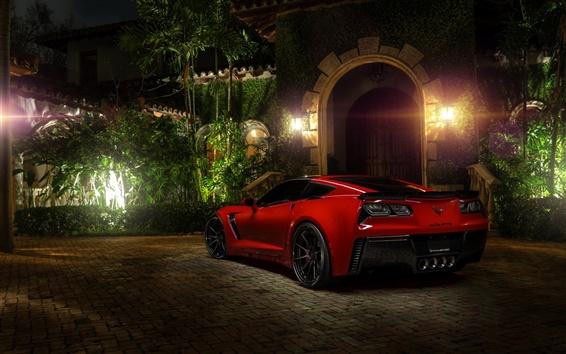 Wallpaper Chevrolet Corvette C7 Z06 red supercar, night, lights