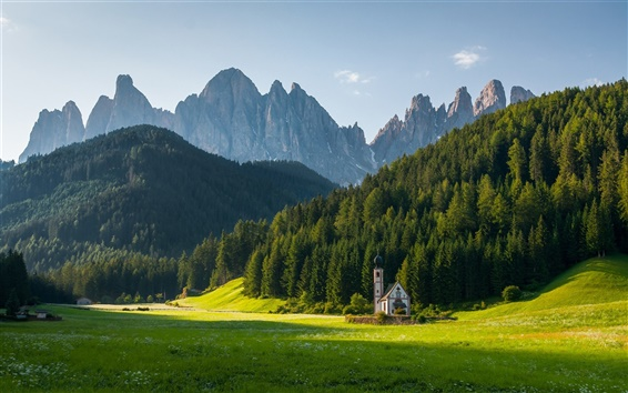 Wallpaper Church St. Johann, Dolomite Alps, sunrise, trees, grass