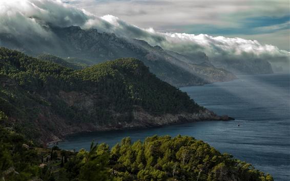 Fond d'écran Coast, montagnes, arbres, nuages, ciel
