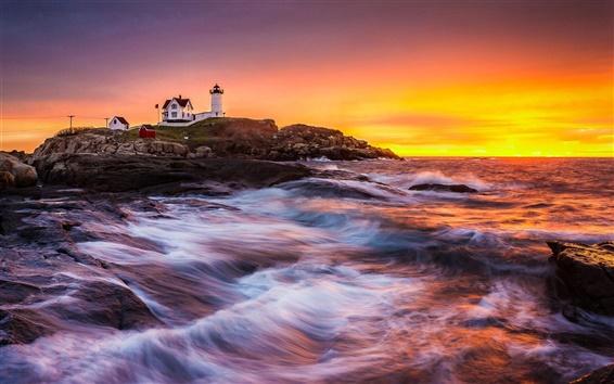 Wallpaper Coast, sea, lighthouse, building, sunrise, rocks, waves