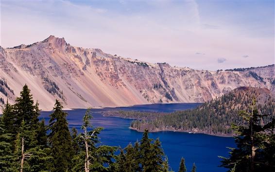 Wallpaper Crater Lake, Oregon, USA, sky, lake, mountain, trees