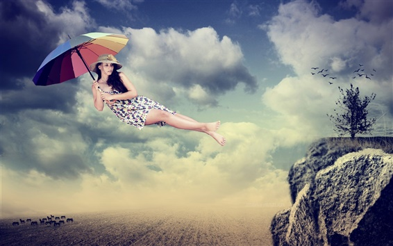 Wallpaper Creative pictures, girl, umbrella, flight