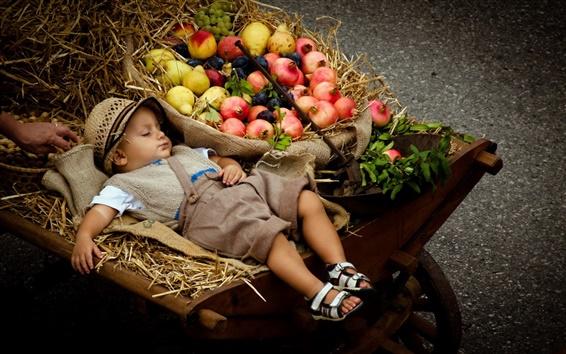 Fond d'écran Dormir garçon mignon, poussette, fruits