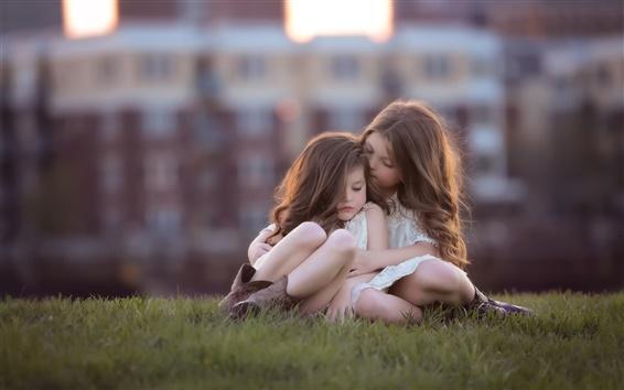 Wallpaper Cute girls, children, grass, bokeh