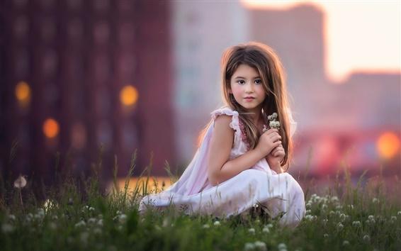 Wallpaper Cute white dress girl, flowers