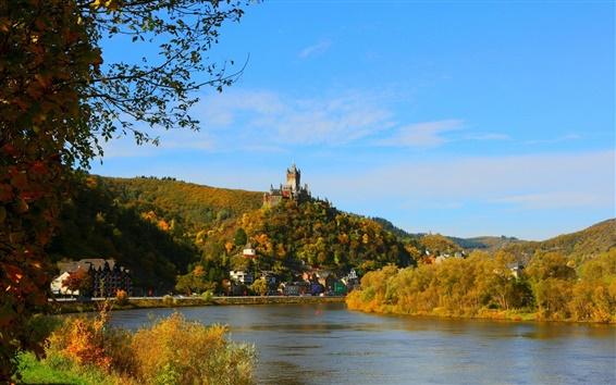 Wallpaper Germany, Cochem Burg, river, city, houses, trees, autumn