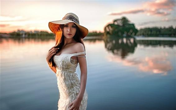 Fond d'écran Fille, chapeau, bokeh, rivière