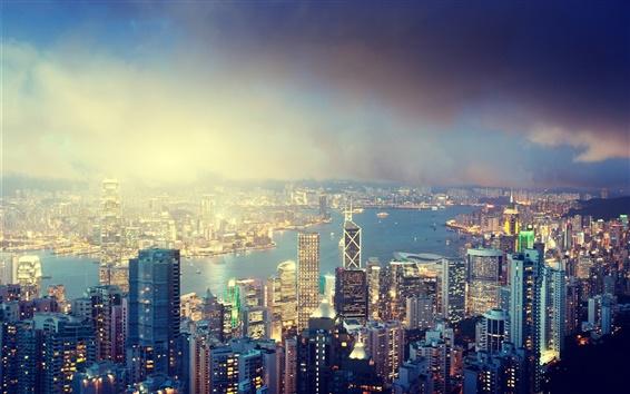 Wallpaper Hong Kong, Victoria Peak at night, lights, buildings