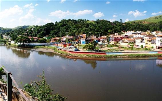 Fondos de pantalla Casa, río, puente, Brasil, Sao Paulo