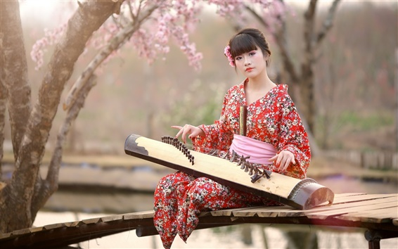Wallpaper Japan, girl, kimono, music