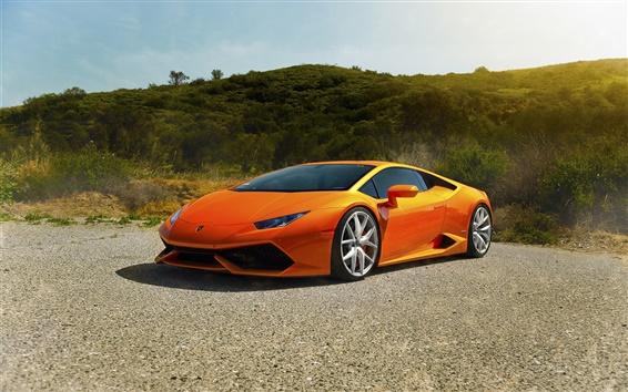 Обои Lamborghini LP640-4 Уракан Diamond Edition, оранжевый суперкар