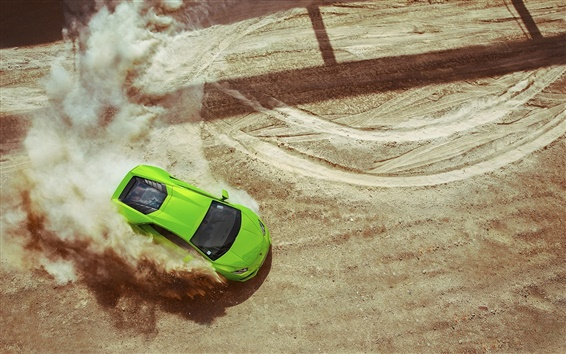 Обои Lamborghini LP640-4 Уракан зеленый суперкар, дрейф, пыль