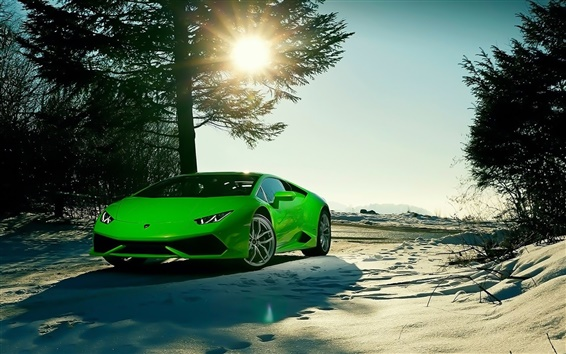 Обои Lamborghini LP640-4 Уракан зеленый суперкар, зима, солнце