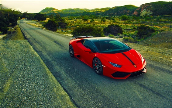 Wallpaper Lamborghini Huracan LP640-4 red supercar, road