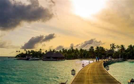 Wallpaper Maldives, tropical, sea, palm trees, boats, bridge, houses