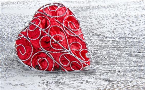 Wallpaper Metal frame, love heart, red
