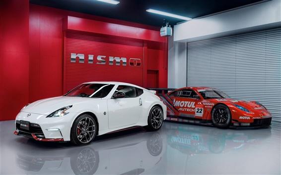 Обои Nissan 370Z белый, красный суперкаров