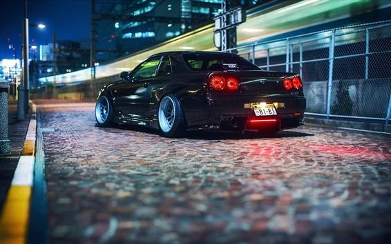 Fond d'écran Nissan Skyline GT ER34 voiture, noir, nuit
