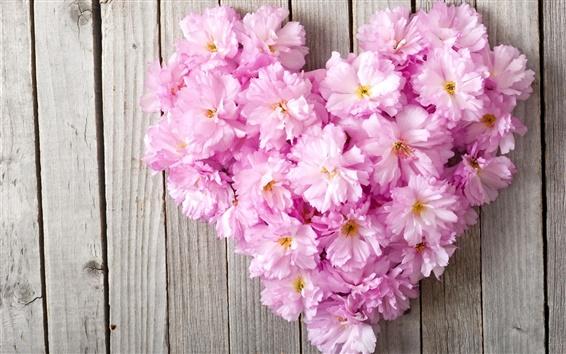Wallpaper Pink flowers, love heart, wood board