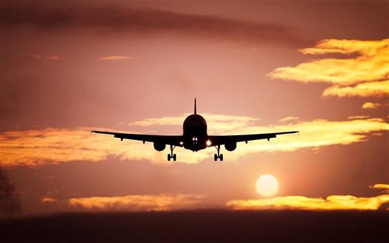 Wallpaper Plane, silhouette, skyline, sun, sunset