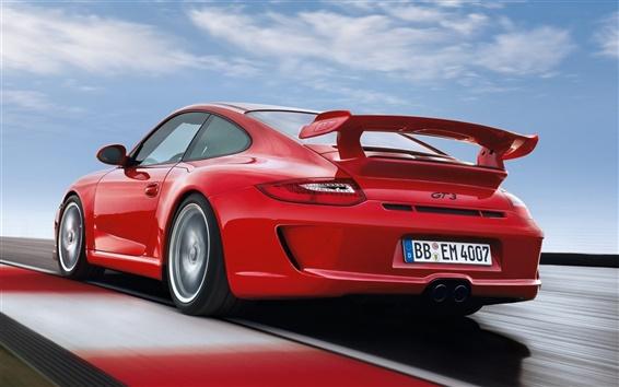 Wallpaper Porsche 911 GT3 997 red supercar rear view