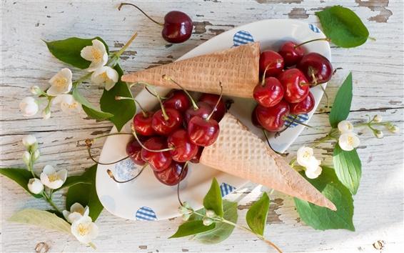 Wallpaper Red cherries, waffles, jasmine