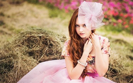 壁紙 赤い髪の少女、ドレス、リング、ブレスレット