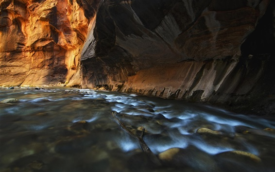 Wallpaper River, canyon, cave, cliff