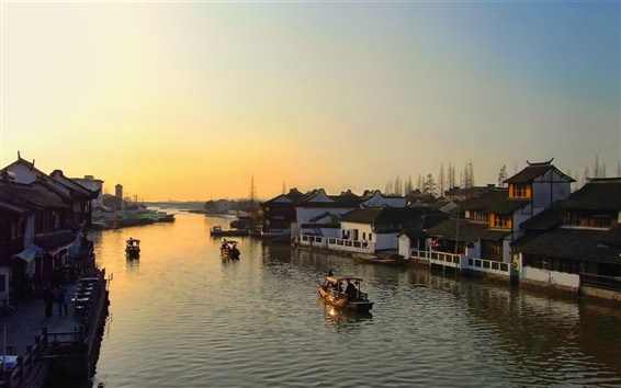 Wallpaper River, dawn, boats, houses, town