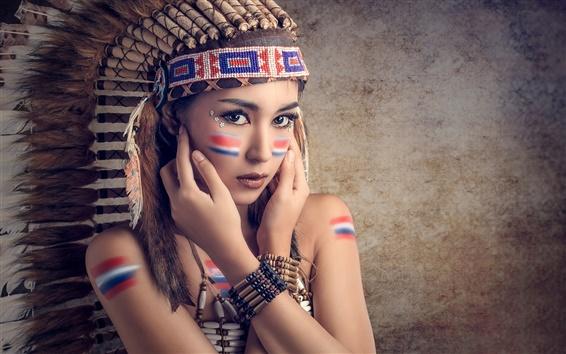 Wallpaper Saipan, makeup, cute girl, feathers, colorful