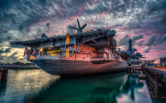 Wallpaper San Diego, USS Midway, sunset